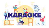 People Sing in Karaoke Club Concept. Male and Female Characters Sing with Microphones and Dynamics on Stage. Holidays and Recreation Time Poster Banner Flyer Brochure. Cartoon Flat Vector Illustration