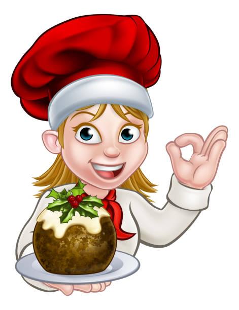 frau koch in weihnachtsmütze mit pudding - pflaumenkuchen stock-grafiken, -clipart, -cartoons und -symbole