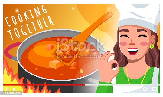 istock Woman chef making video about cooking for subscribers. Blogger, streamer, live stream. Flat image 1312063635