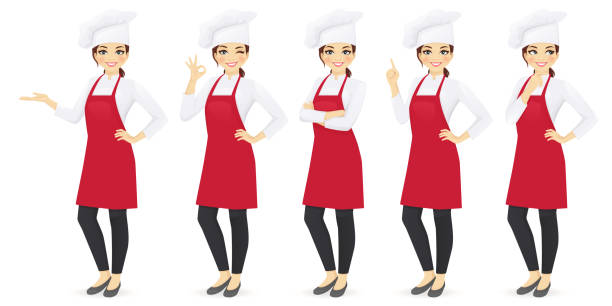 Woman chef Woman chef set in different poses vector illustration domestic kitchen stock illustrations
