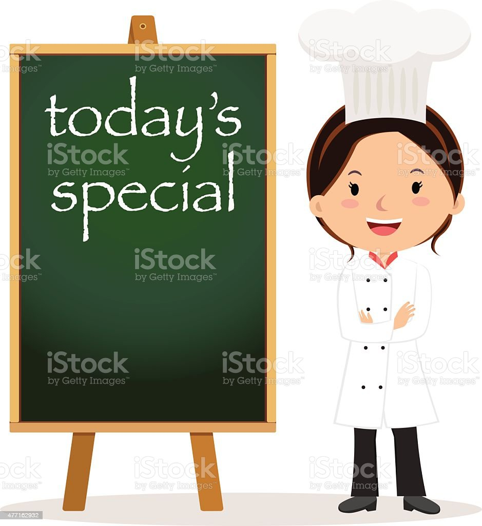 Woman chef with menu board vector art illustration