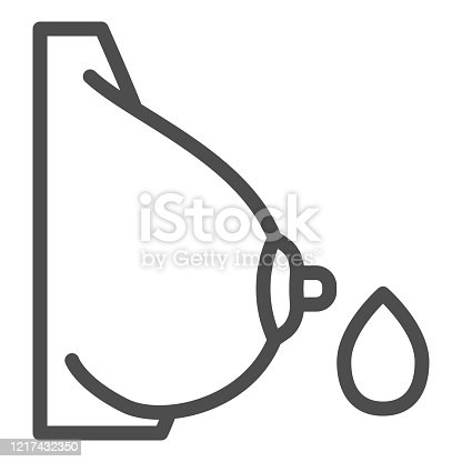 istock Woman chest line icon. Female breast with drop of milk outline style pictogram on white background. Maternity and Lactating signs for mobile concept and web design. Vector graphics. 1217432350
