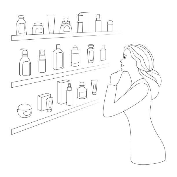 bildbanksillustrationer, clip art samt tecknat material och ikoner med kvinnan väljer kosmetika och parfymer i kosmetika butik. - kvinna förpackning skönhetsprodukt väljer
