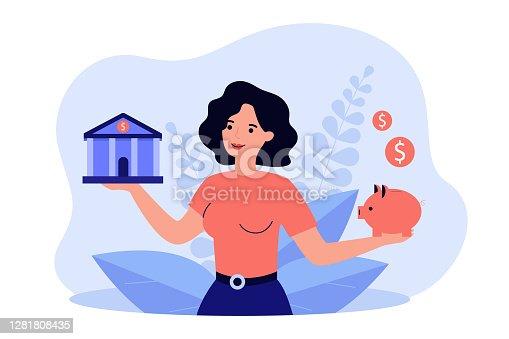 istock Woman choosing between bank and piggybank 1281808435