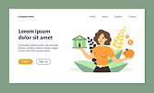 Woman choosing between bank and piggybank flat vector illustration. Cartoon lady thinking about money safety and budget planning. Economy choice and investment concept