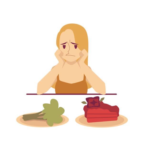 Woman choosing between dessert and diet food flat vector illustration isolated. vector art illustration