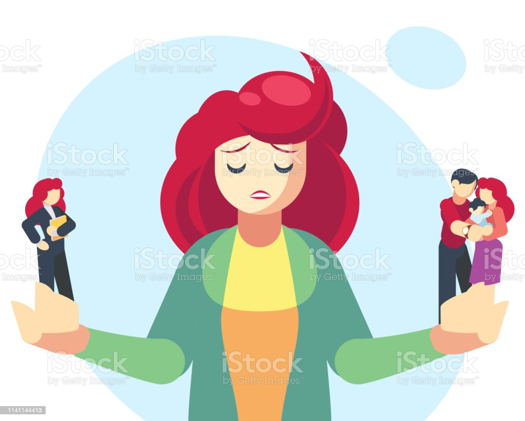 Woman Choosing Between Family Or Parent Responsibilities And Career Or Professional Success Difficult Choice Life Dilemma Search Of Balance Decision Making Flat Cartoon Vector Illustration Stock Illustration Download Image Now Istock
