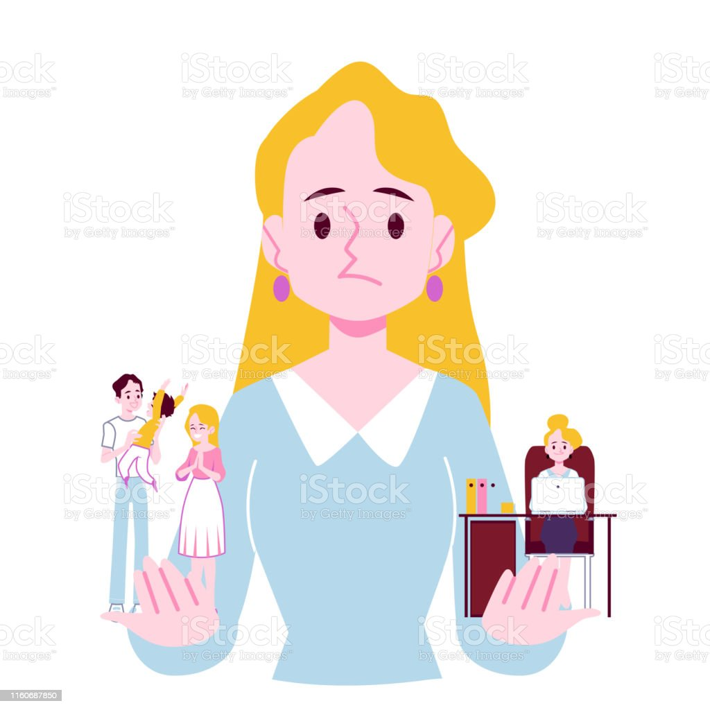 Woman Choosing Between Family Responsibilities And Career Flat Vector Isolated Stock Illustration Download Image Now Istock