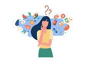istock Woman choosing between healthy and unhealthy food 1261754581
