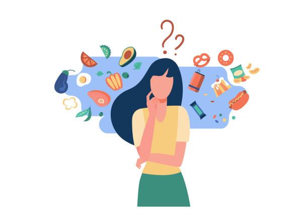 女性在健康與不健康食物之間進行選擇。 - 不健康飲食 幅插畫檔、美工圖案、卡通及圖標