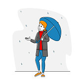 Woman City Dweller Character Holding Umbrella Catching Rain Water Drops Falling from Sky. Spring or Autumn Rainy Season Weather. Meteorology Storm Forecast, Outdoor Walk. Linear Vector Illustration