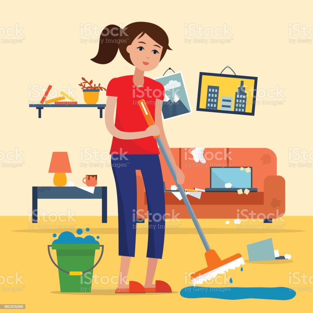 Woman cleaning dirty room with a mop