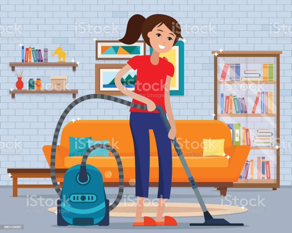 Woman cleaning room with vacuum cleaner. royalty-free woman cleaning room with vacuum cleaner stock vector art & more images of adult
