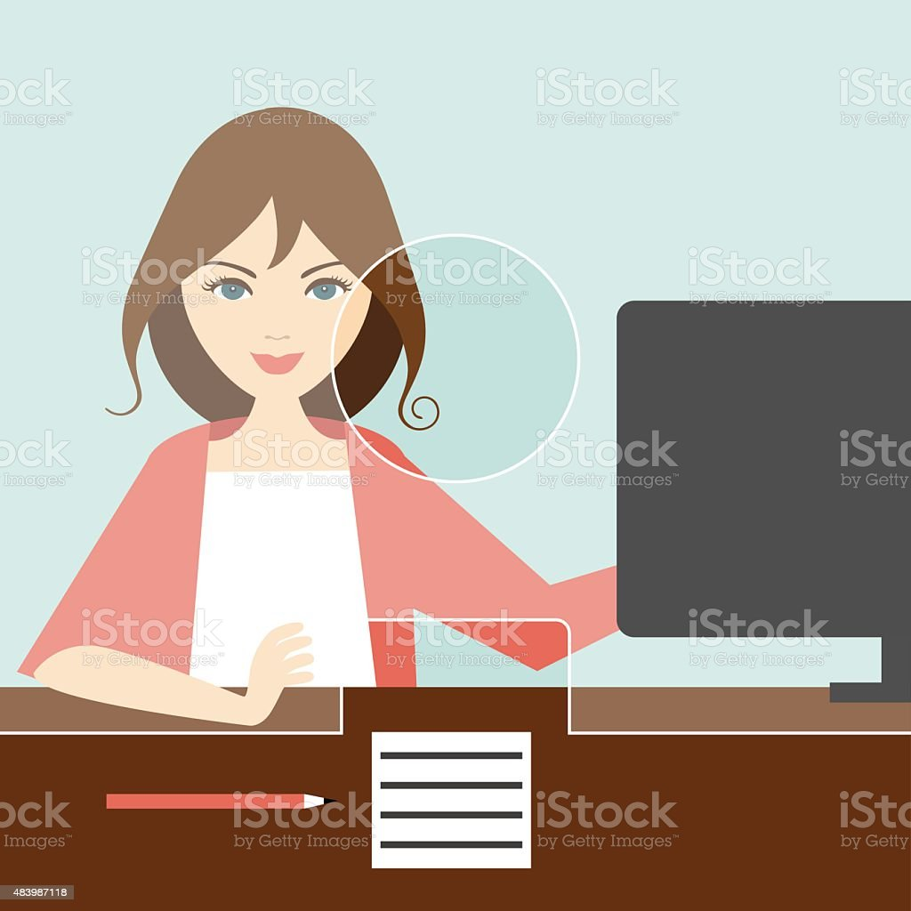 Woman clerk in a bank. Flat vector. vector art illustration