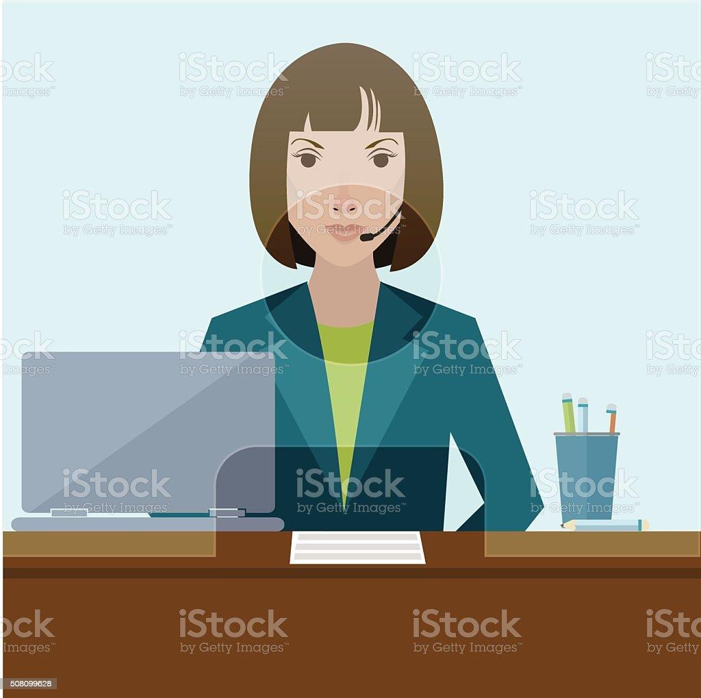 Woman Clerk In A Bank Office Flat Vector Stock Vector Art