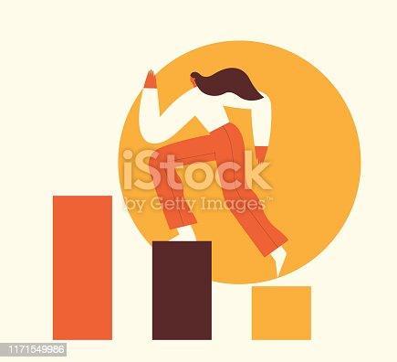 Woman climbing the steps to success. Motivation concept, career growth, leadership, business. Digital marketing, SMM, website content promotion in internet and social media. Flat vector illustration.