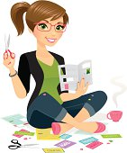 A woman sitting crossed legged on the floor, cutting out coupons. Glasses easily removed in Ai.