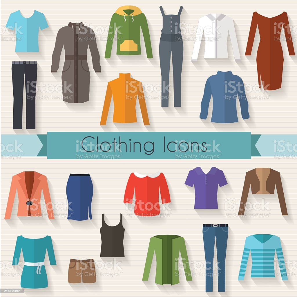 Woman clothing set flat illustration vector art illustration