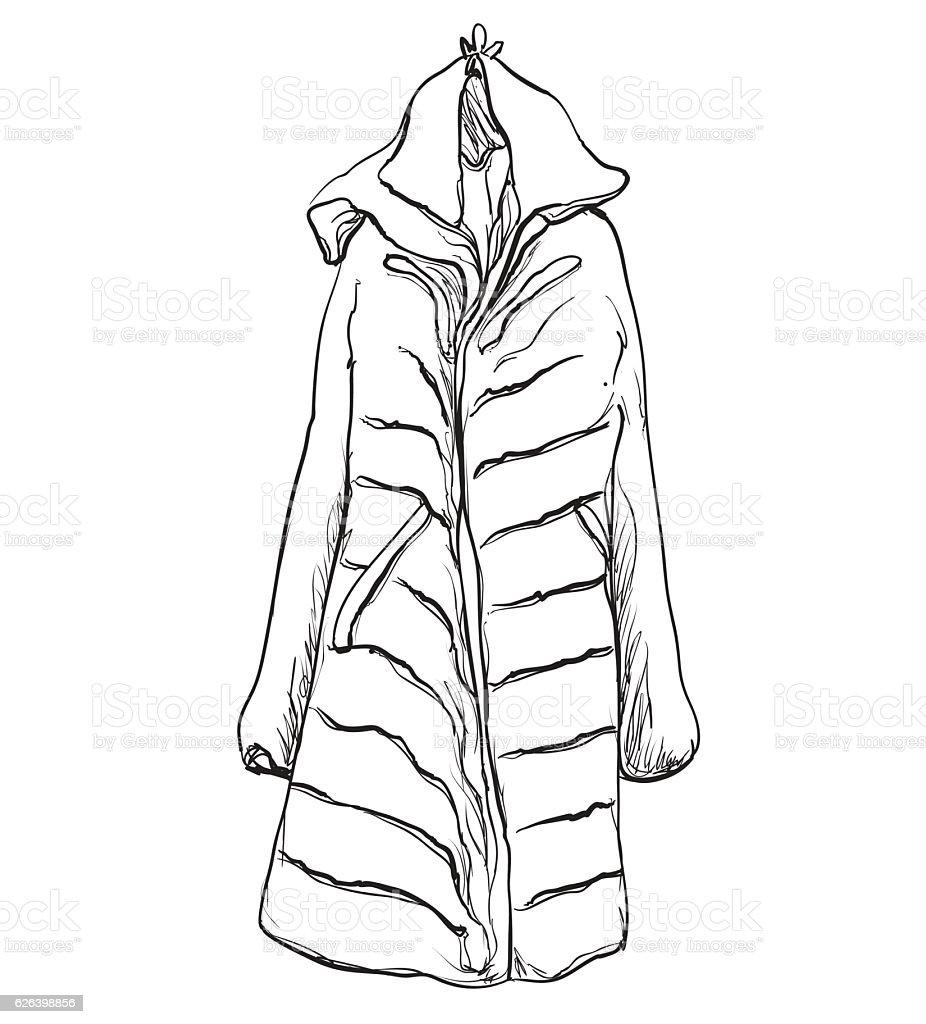 Jacke, mantel, autumn., kleiderbügel, kleidung. Sketch