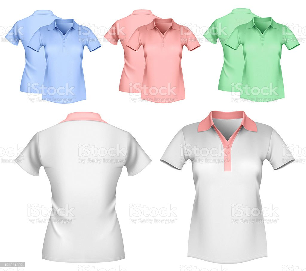Woman color and white polo shirt design template. royalty-free stock vector art