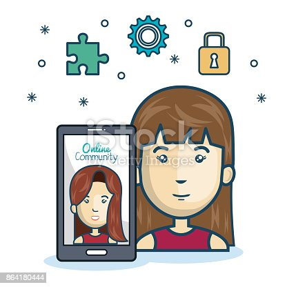Woman Community Online Smartphone With App Media Design Stock Vector Art & More Images of Adult 864180444