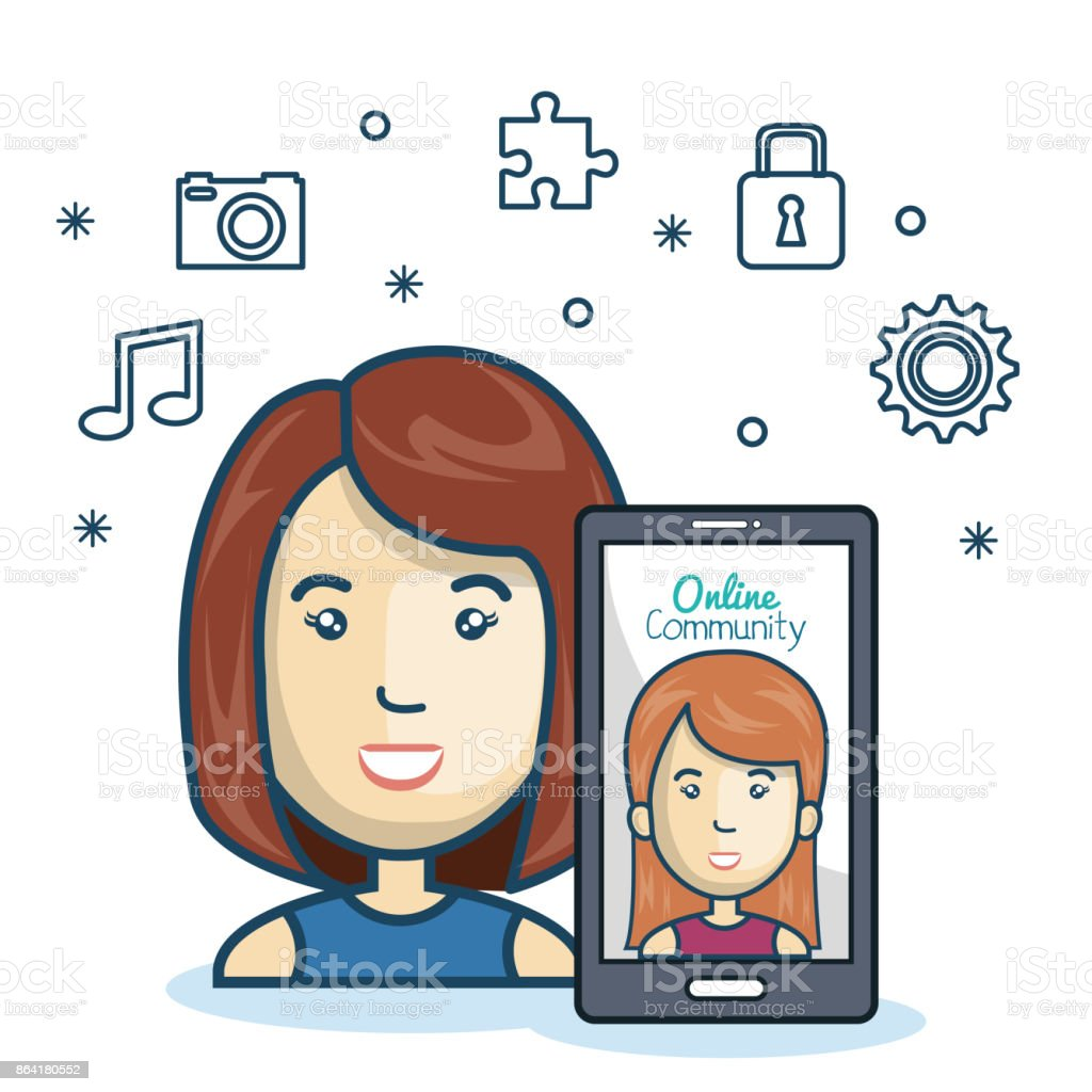 woman community online smartphone with app media design royalty-free woman community online smartphone with app media design stock vector art & more images of adult