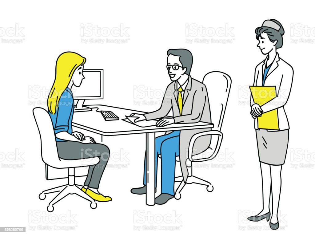 Woman consulting doctor in hospital vector art illustration
