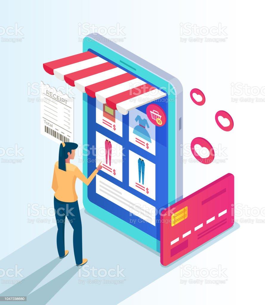 31a7116cf Caráter de consumidor mulher fazendo compras pelo site da loja na internet.  Conceito de comércio