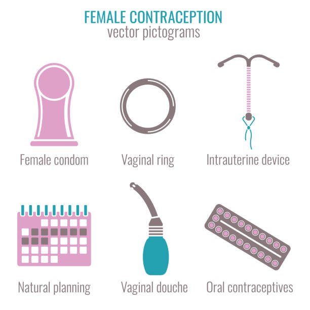 woman contraception icons - family planning stock illustrations, clip art, cartoons, & icons