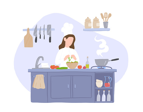 Woman Cook Prepares Salad in the Kitchen