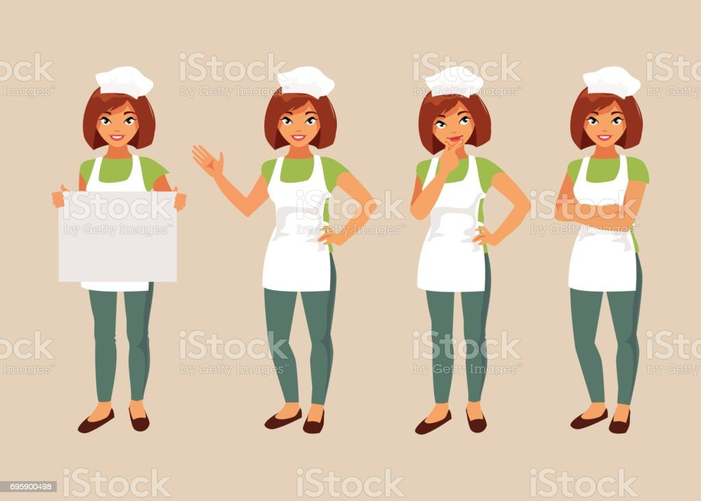 Woman cook set vector art illustration