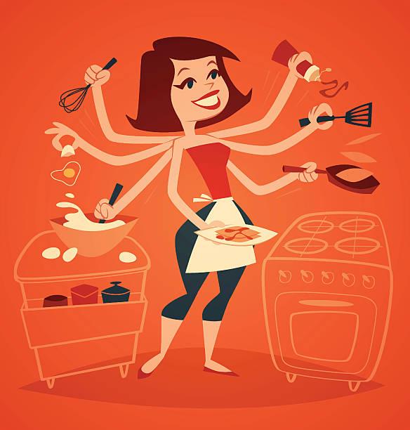 ilustrações de stock, clip art, desenhos animados e ícones de mulher cozinhar o pequeno-almoço. série de uso doméstico, ilustração vetorial. - fail cooking