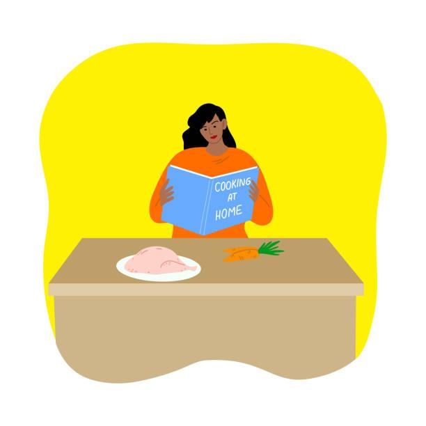 stockillustraties, clipart, cartoons en iconen met vrouw die kip kookt tijdens isolatie voor bescherming tegen coronavirusbesmetting - avondklok