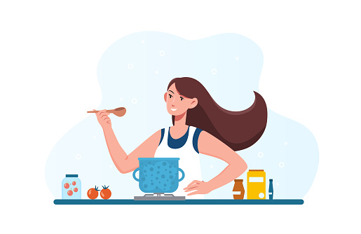 Woman cooking dietary vegetarian soup in kitchen