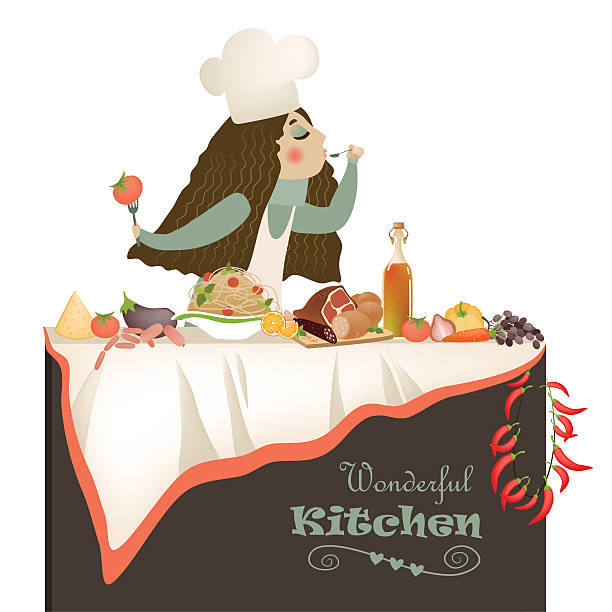woman cooking in the kitchen - busy restaurant kitchen stock illustrations