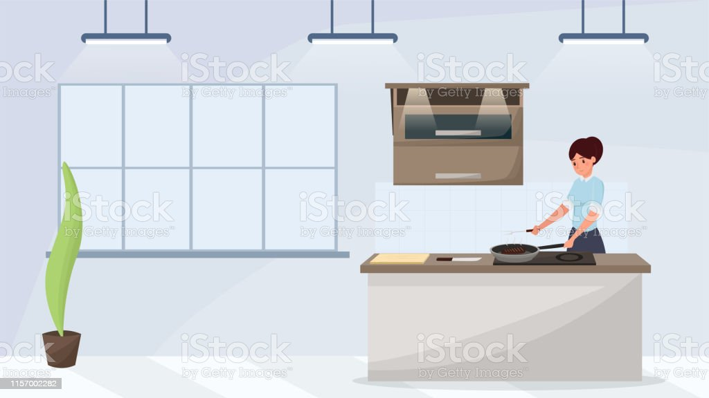 Woman cooking meal flat vector illustration. Maid roasting steak in...