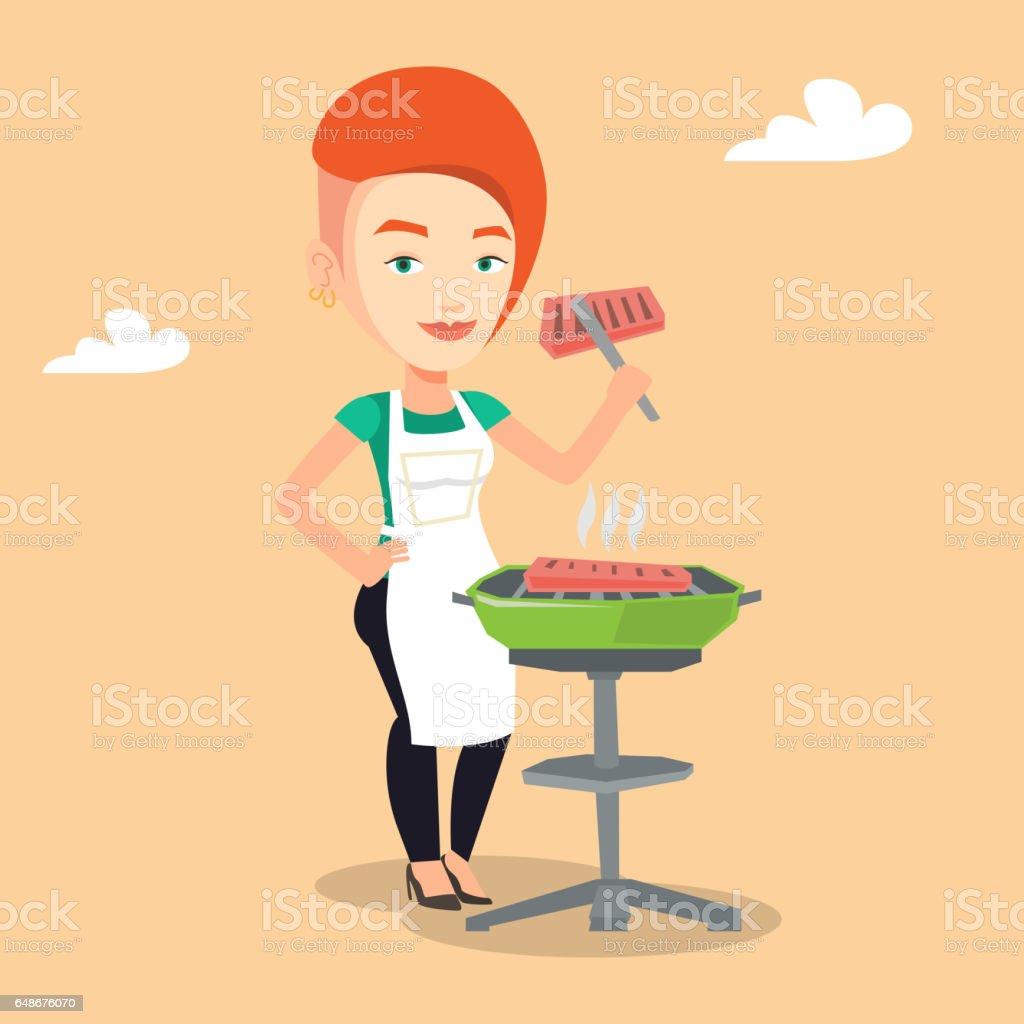 Frau Kochen Steak Auf Grill Stock Vektor Art und mehr Bilder von ...