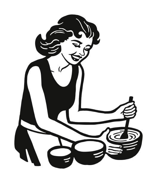 女性の料理 - 家庭料理点のイラスト素材/クリップアート素材/マンガ素材/アイコン素材