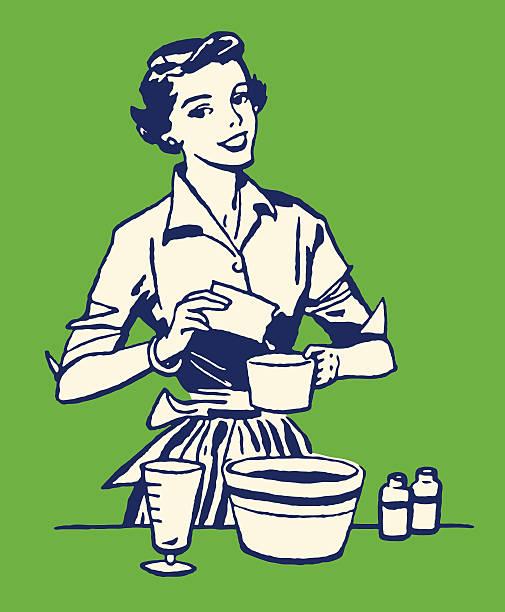 frau kochen - hausfrau stock-grafiken, -clipart, -cartoons und -symbole