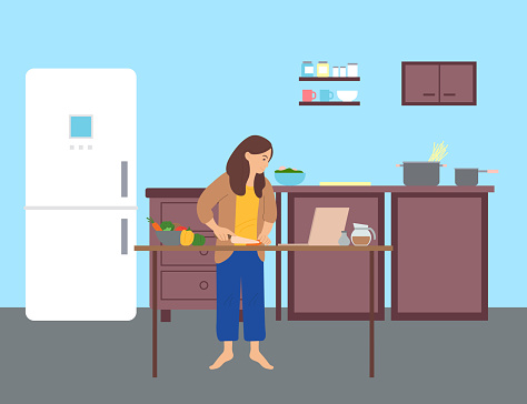 Woman cooks and surfs the internet in kitchen. Browsing sites, social networking. Flat vector image