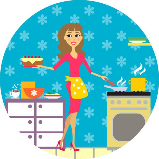 ilustraciones, imágenes clip art, dibujos animados e iconos de stock de mujer cocina en la cocina - busy restaurant kitchen