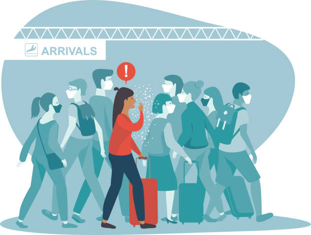 woman coughing spreads virus or bacterial infection in airport arrival area vector art illustration