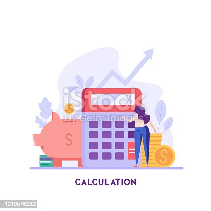 istock Woman counts on a calculator. Financial administration. Concept of financial management, optimization, duty, financial accounting. Vector illustration in flat design for UI, banner, mobile app 1219576232