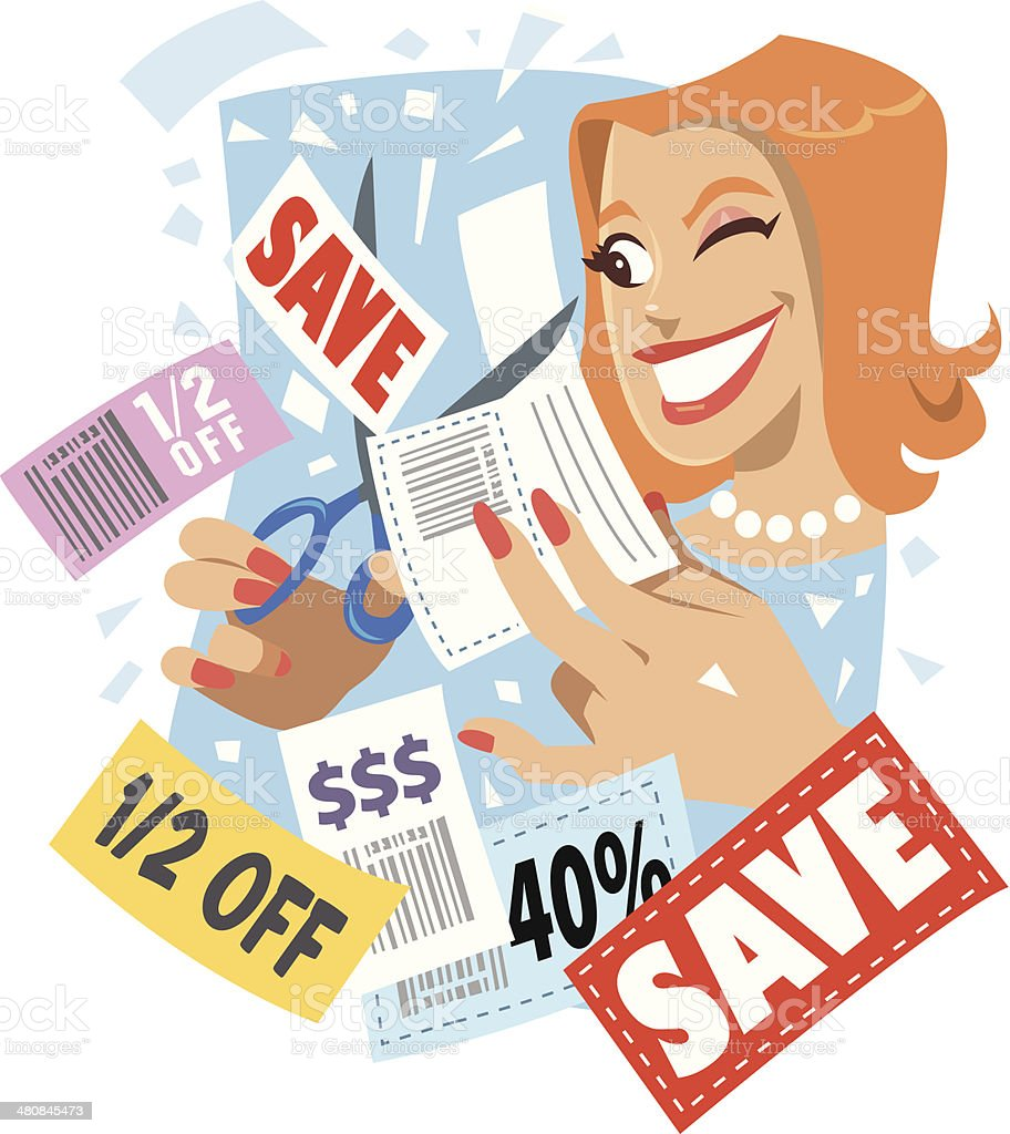 royalty free coupon lady clip art vector images illustrations rh istockphoto com clipart coupon template coupon clip art template free