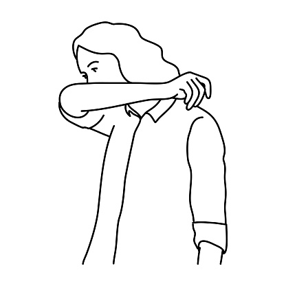 Woman cover your mouth and nose with arm when cough or sneeze.