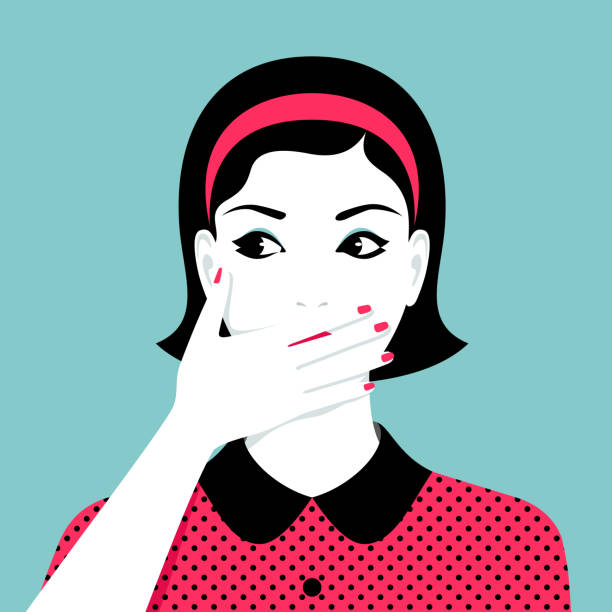 illustrazioni stock, clip art, cartoni animati e icone di tendenza di woman covers her mouth by her hand - donna si nasconde