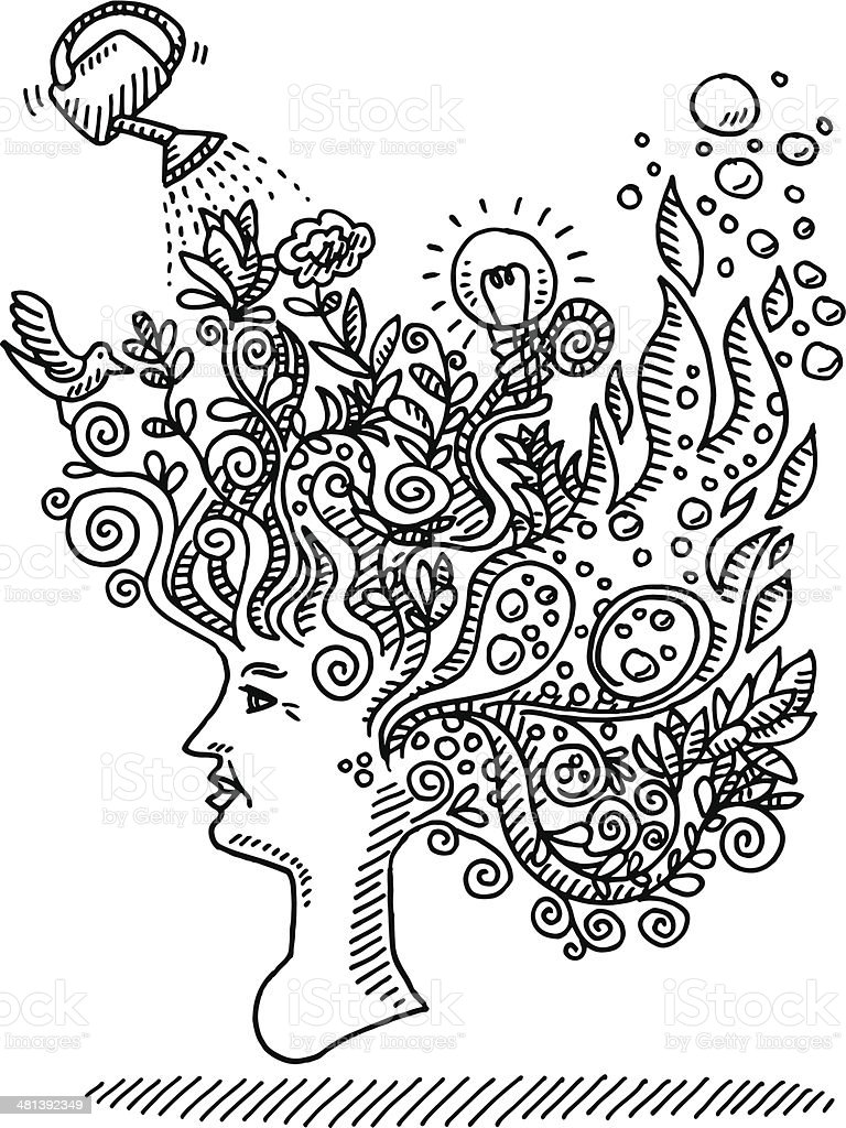 Woman Creative Mind Concept Drawing vector art illustration