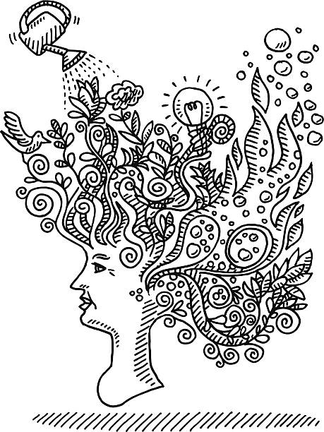 Woman Creative Mind Concept Drawing Hand-drawn vector drawing of a Creative Mind Concept. The woman is brim-full of Ideas. Everything is growing out of her head, growing plants, fire, bubbles, a lightbulb, a watering can and a bird. Black-and-White sketch on a transparent background (.eps-file). Included files are EPS (v10) and Hi-Res JPG. women stock illustrations
