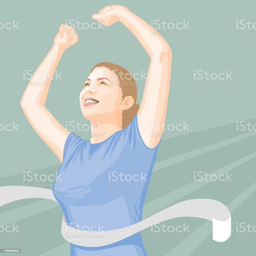 Woman Crossing the Finish Line royalty-free stock vector art