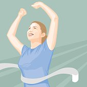 A woman crossing the finish line. No gradients were used when creating this illustration.